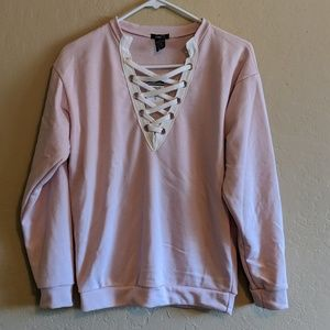 NWT Lace Up Crew Neck Hoodie